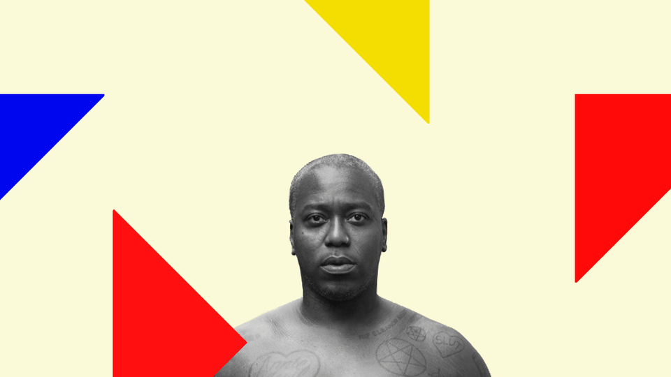 A portrait of Brontez Purnell with colored triangles