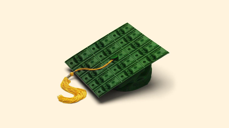 A graduation cap made of money