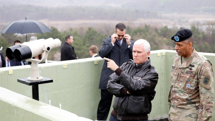 Vice President Mike Pence looks toward the north from an observation post inside the demilitarized zone separating the two Koreas, in Paju, South Korea.