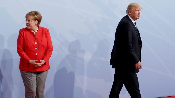 Trump and Merkel meet in Hamburg in 2017.
