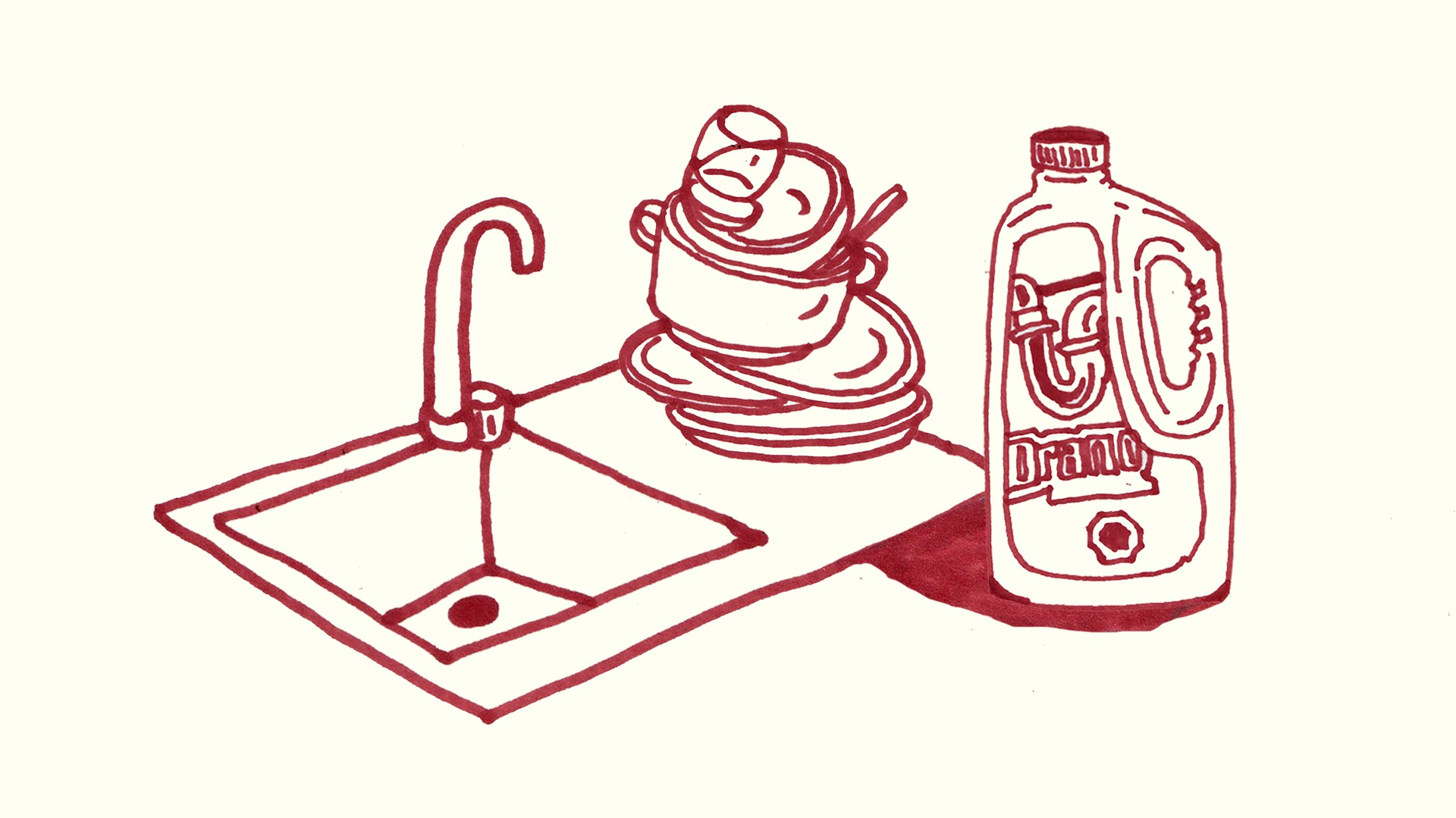 An illustration of a sink, Drano, and a pile of dishes against a cream-colored background