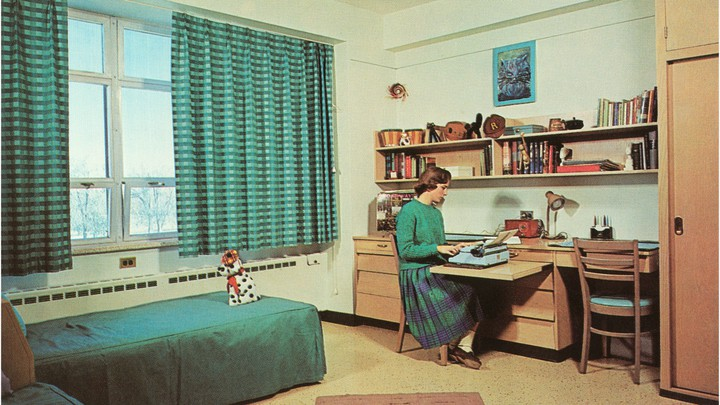 A drawing of a young woman sitting alone in a dorm room, on a typewriter