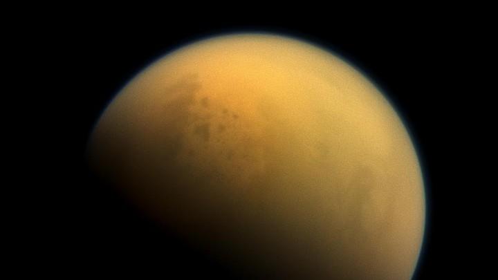 Lakes peek out through the Titan haze.