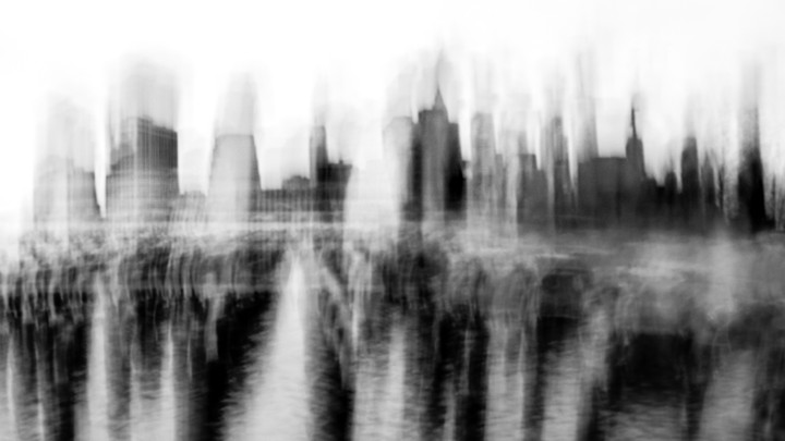 A blurry image of the Manhattan skyline.