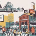 An illustration of Detroit landmarks.