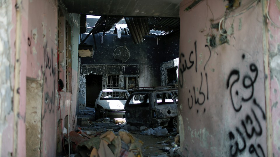 A burned out house is seen in the Old City of Mosul, Iraq, on June 28, 2017.