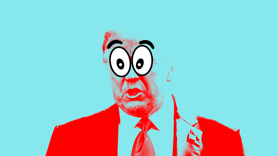 An illustration of Donald Trump with cartoon character eyes.