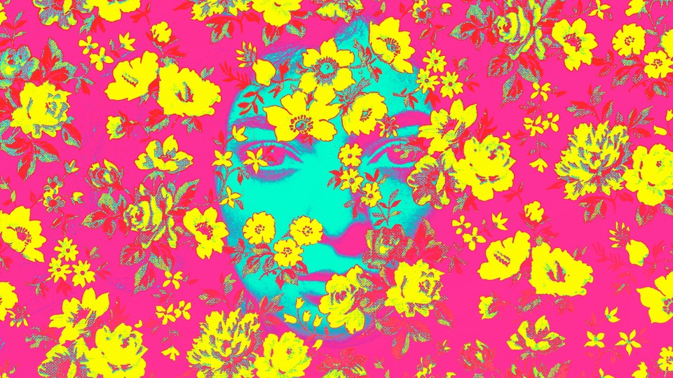 Lorde's face in turquoise against a backdrop of magenta with yellow flowers superimposed