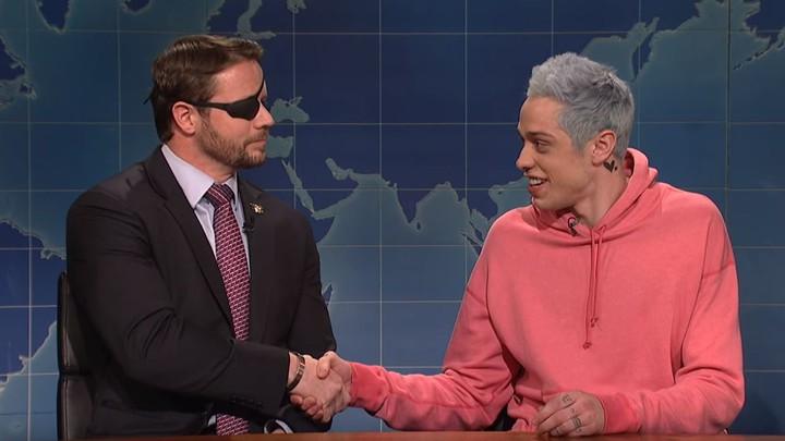 Congressman-elect Dan Crenshaw and Pete Davidson on 'Saturday Night Live'