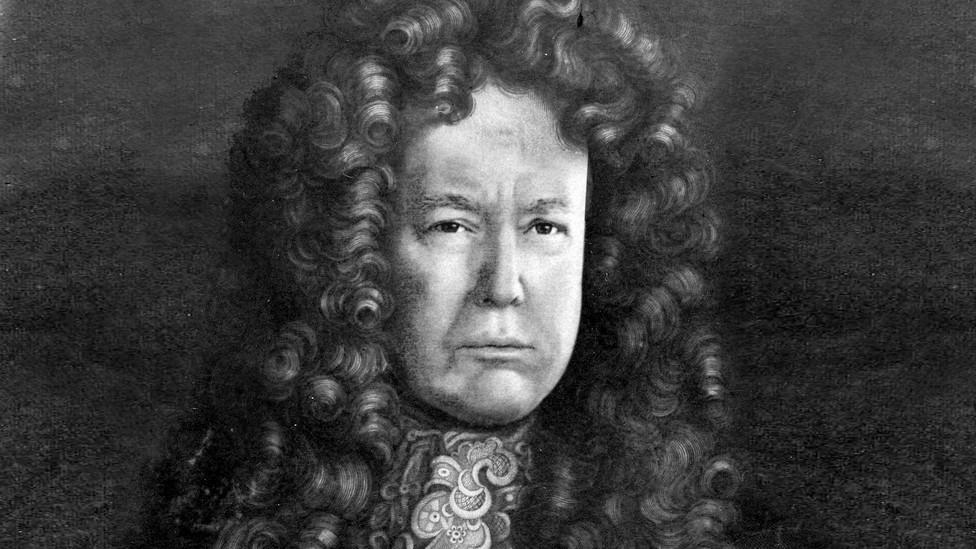 Donald Trump portrayed as a late-17th-century Stuart monarch