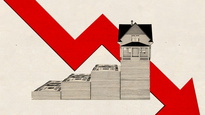 An illustration of a house made of money and a an arrow pointing down