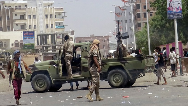 The scene on Monday attack in Aden, Yemen