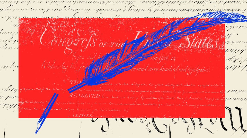 An illustration of the Constitution with a broken quill.