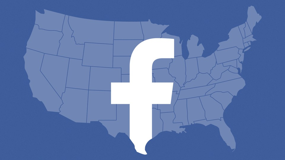 The continental United States with the Facebook logo superimposed