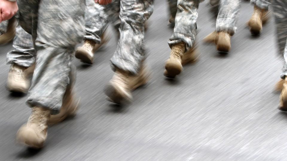 American troops marching
