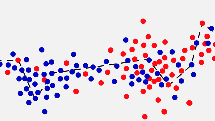 An illustration of a graph with red and blue dots.