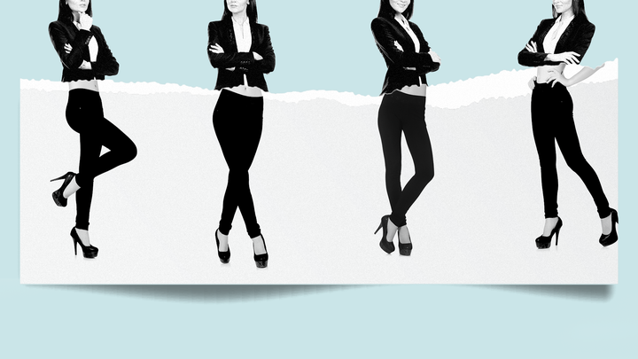 Women wearing leggings as part of work attire.