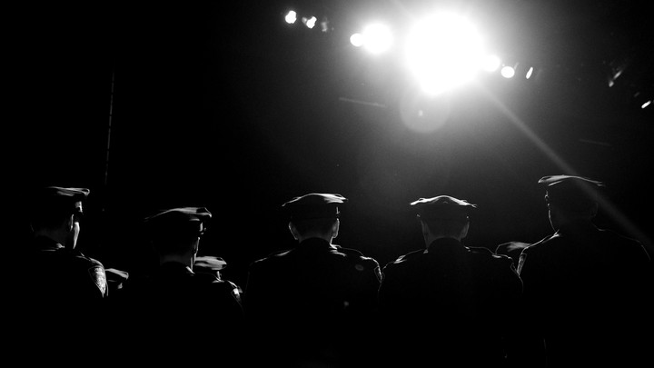 Police officers standing in a line