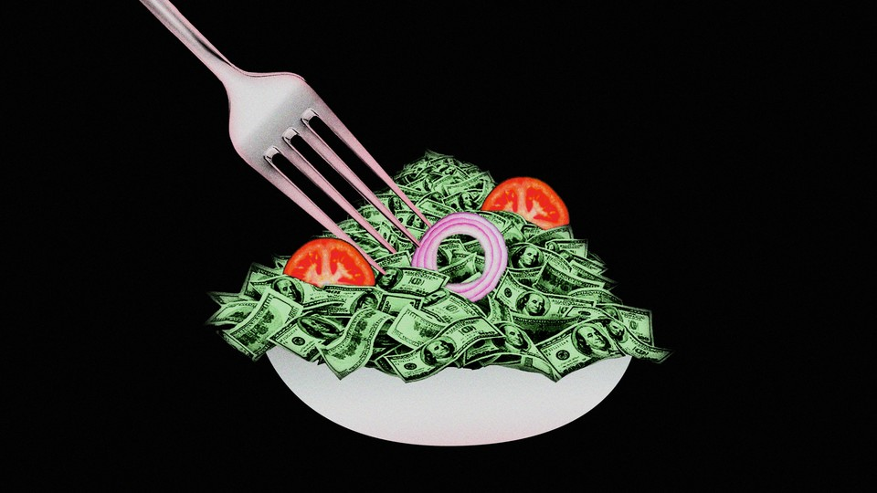 A bowl of salad, but the leaves are dollars