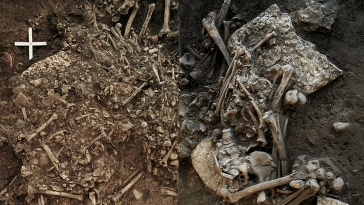An excavation of human remains
