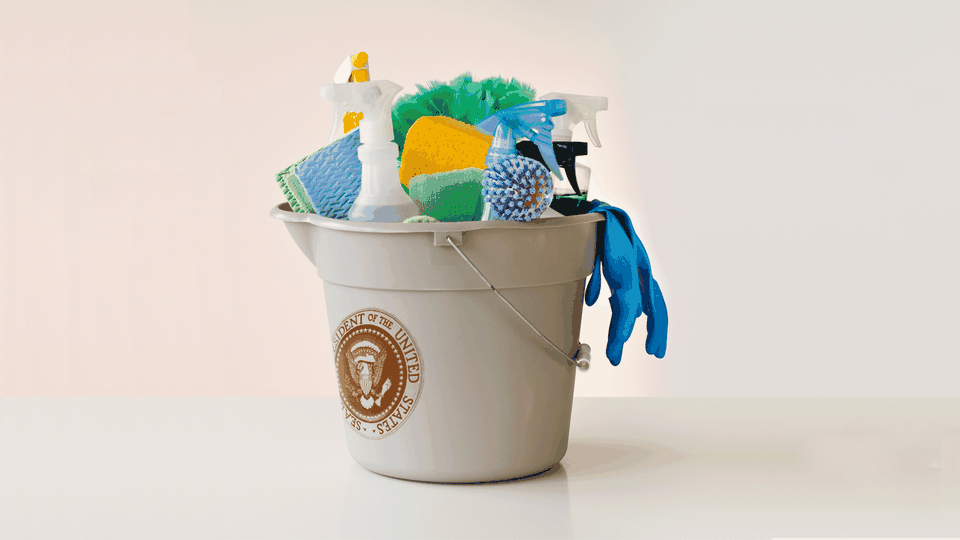 An illustration shows cleaning supplies inside a bucket with the presidential seal on it.