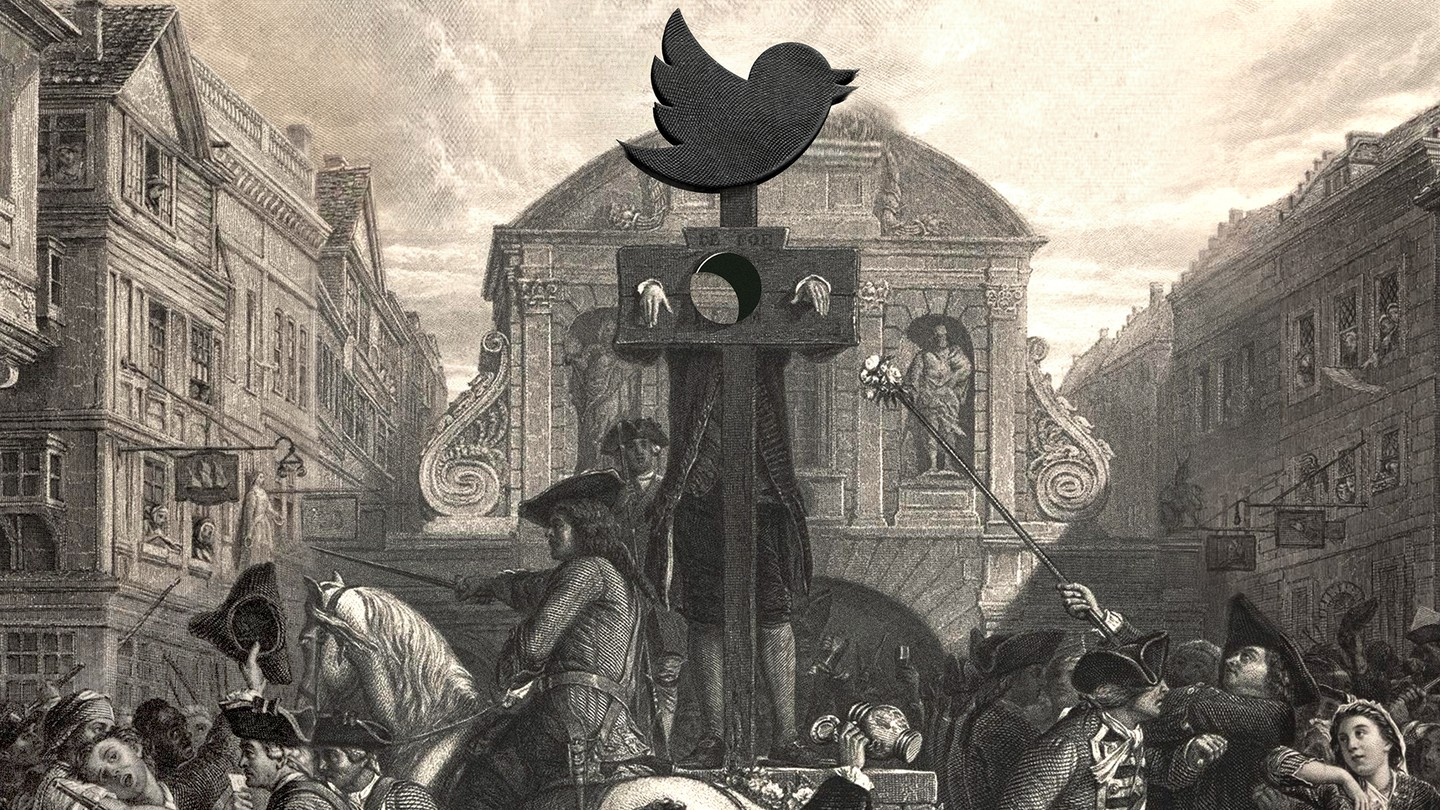 18th-century public square with pillory crowned by the Twitter logo and surrounded by crowd; the person in stocks has invisible head
