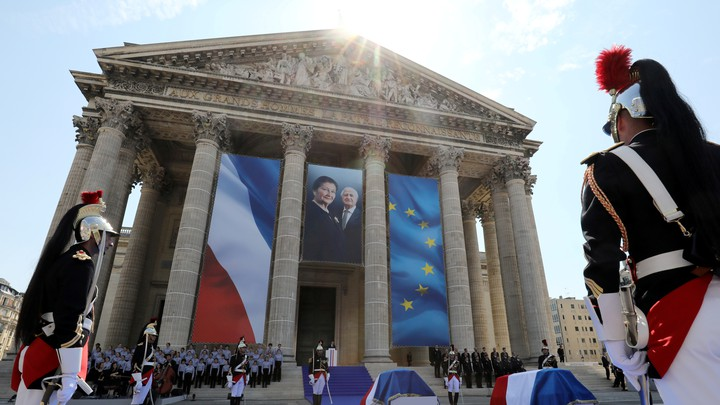 French President Emmanuel Macron delivers a speech in tribute to late Auschwitz survivor and French health minister Simone Veil and her late husband Antoine Veil during a national tribute.