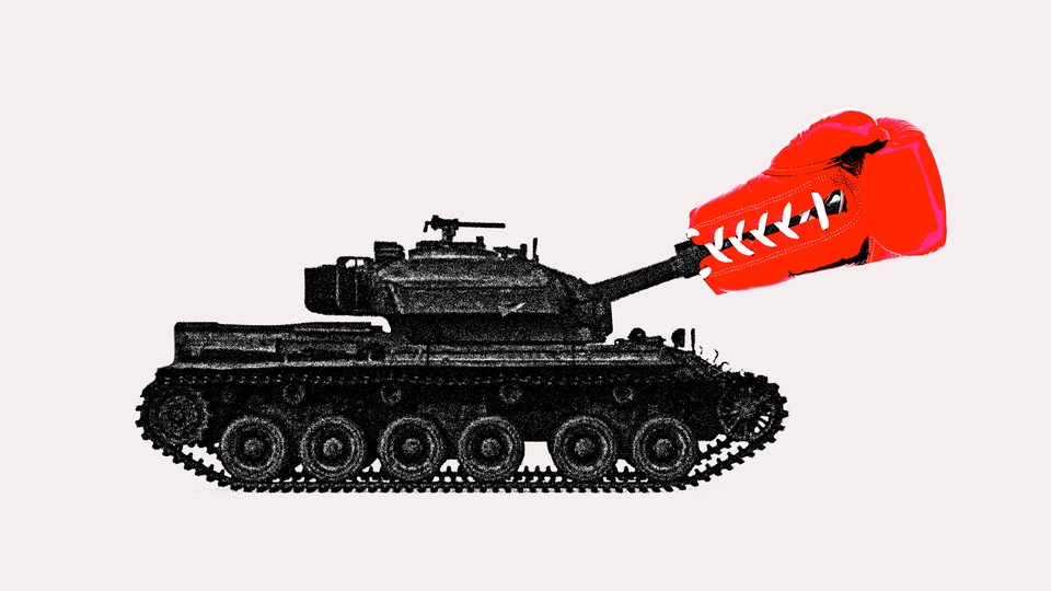 Illustration of a tank with a boxing glove