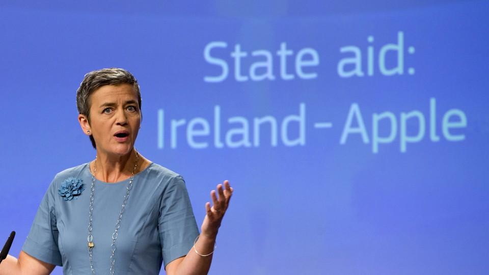 Margrethe Vestager, the European Union competition commissioner, speaks