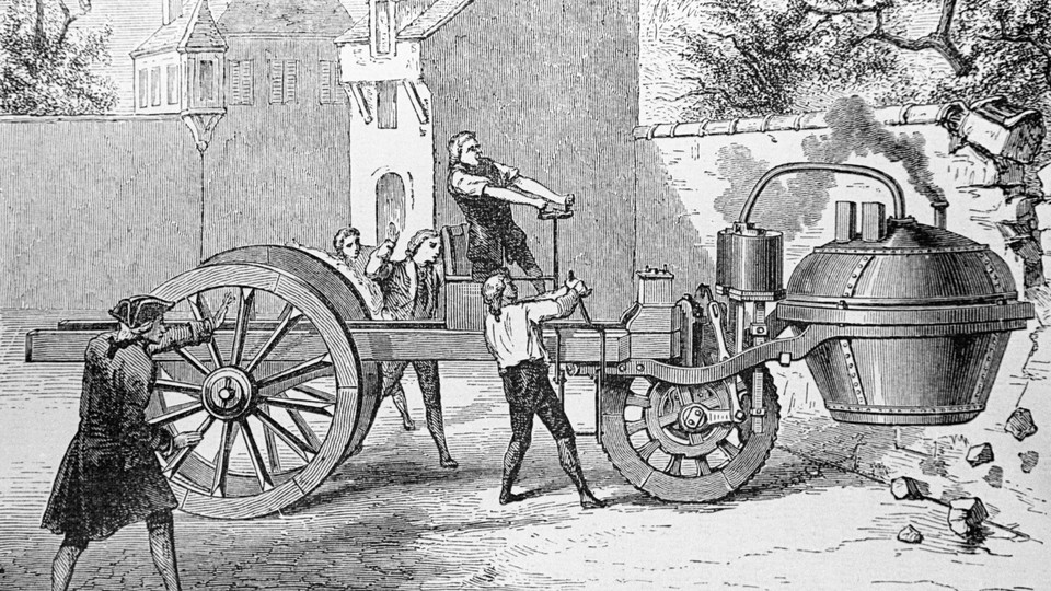 A 1770 engraving of a steam engine crushing a wall