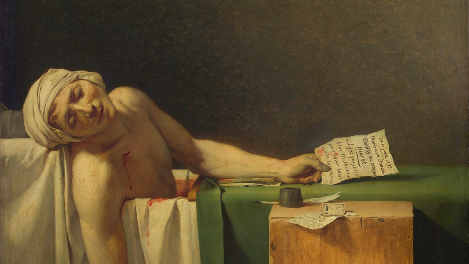A painting of Marat dead in his bathtub