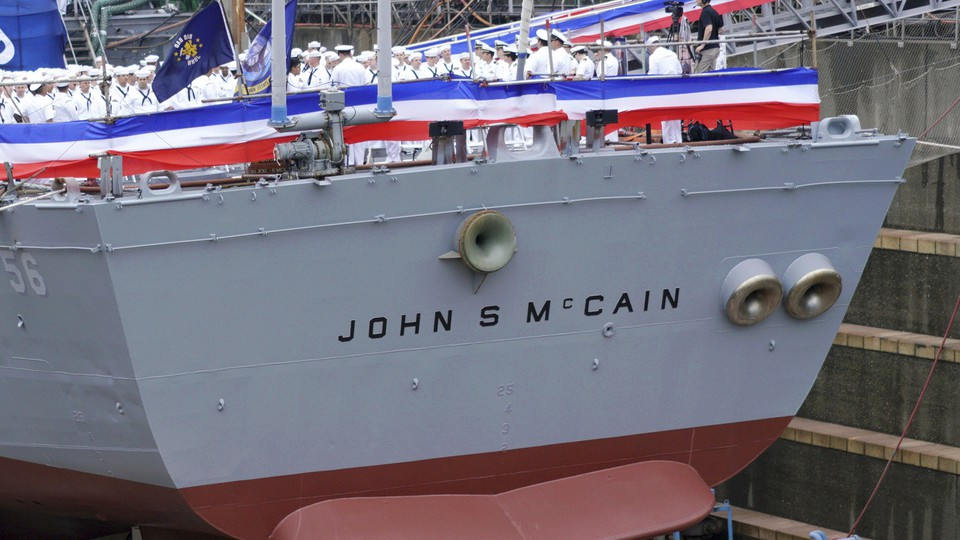 The USS John S. McCain, pictured at its rededication in 2018