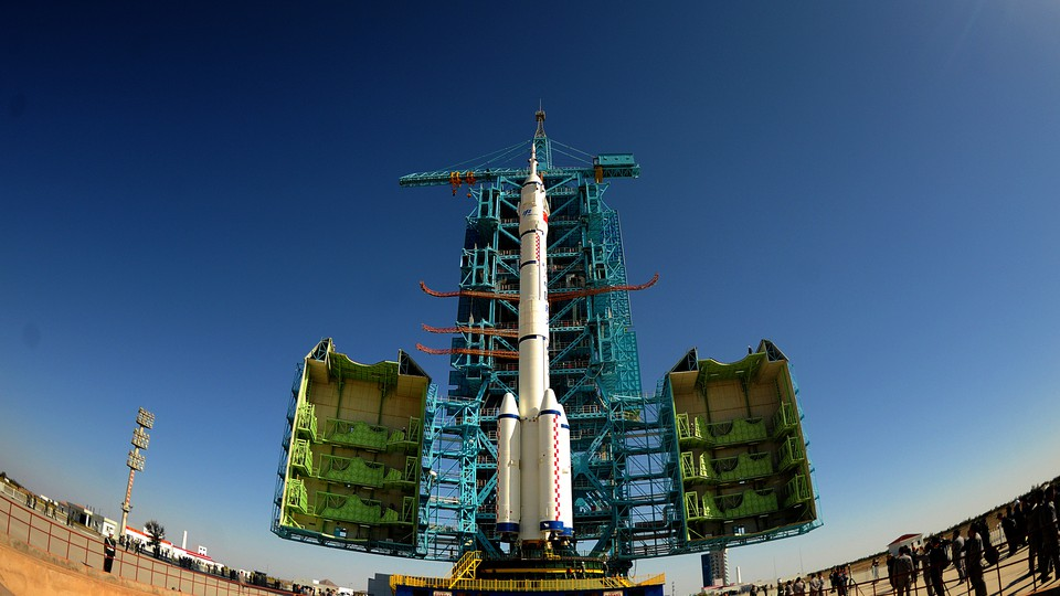 China's Long March rocket carrying the crewed spacecraft Shenzhou-11 at the launch center in Jiuquan, China, on October 10, 2016.