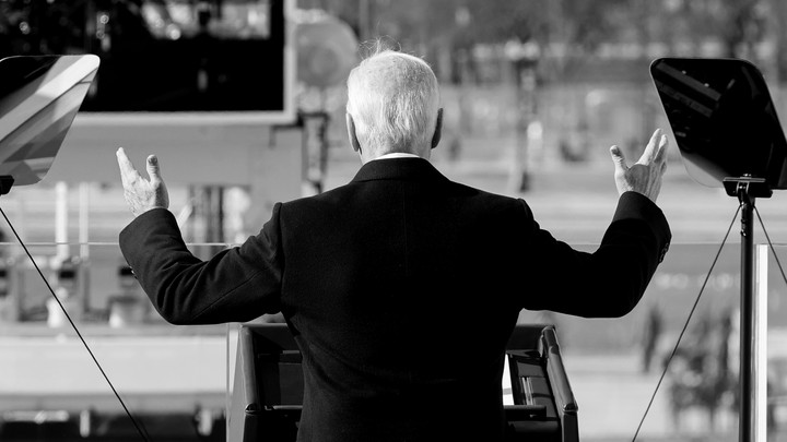 Joe Biden giving his inaugural address