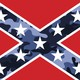 An illustration of a Confederate flag with camouflage print.