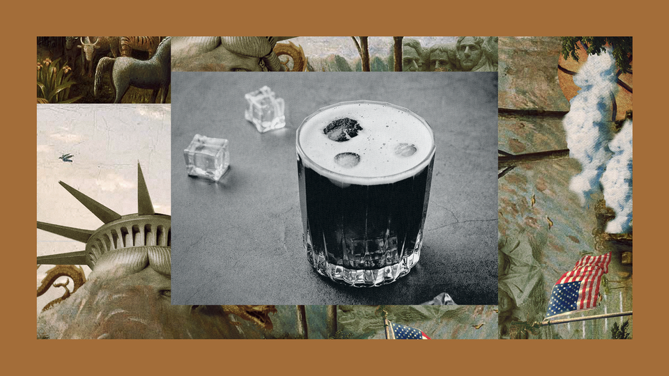 A single cocktail surrounded by ice cubes sits on a table. The image is set into a frame featuring The Experiment's show art.