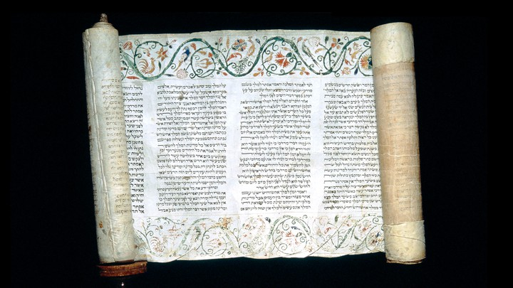 The Book of Esther on a scroll of parchment from the 18th century