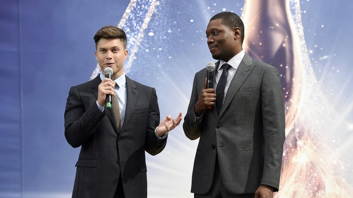 Colin Jost, left, and Michael Che, co-hosts for the 70th Emmy Awards