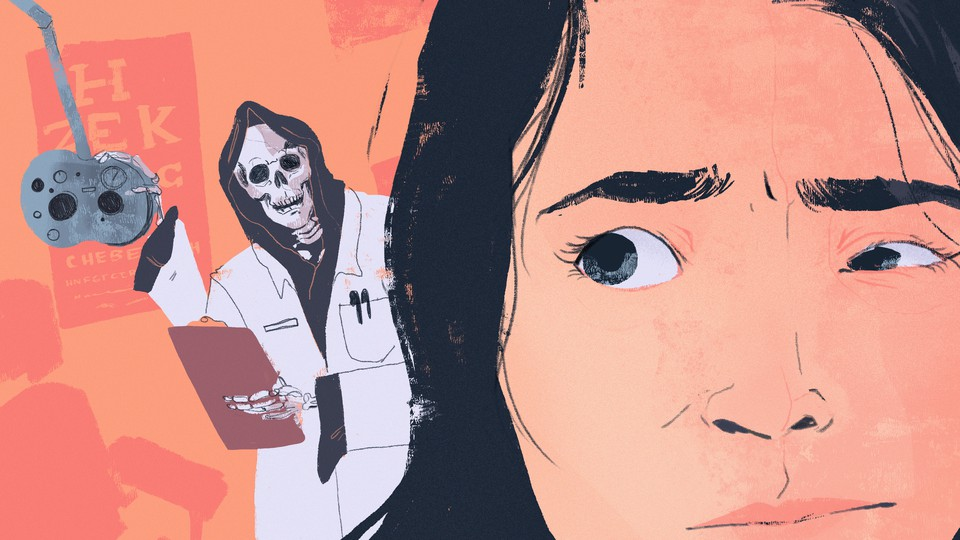 A person with one eye closed more than the other, with a skeleton in a lab coat lurking in the background next to optometry equipment