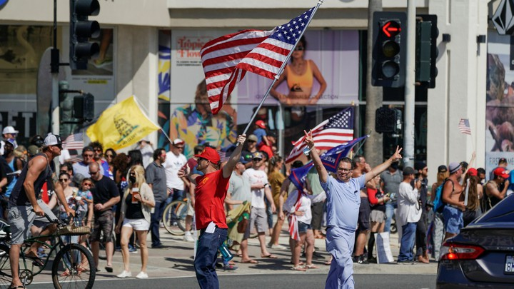 Protesters in Huntington Beach.