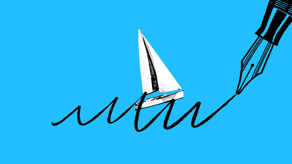 An illustration of a sailboat riding waves drawn by a pen