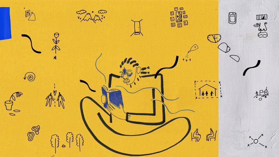 Illustration of a man reading