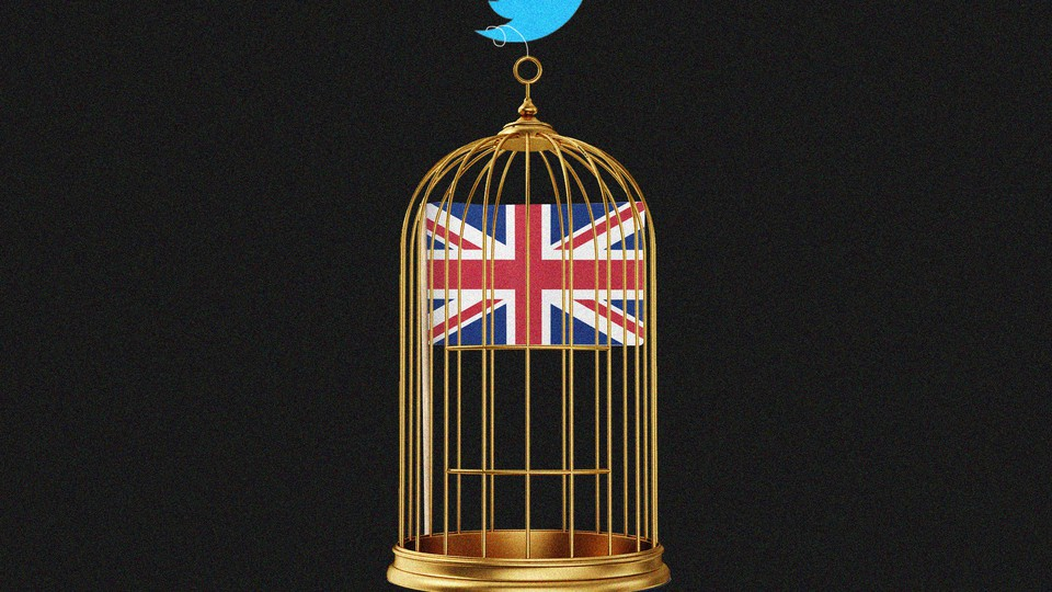 An illustration of the Twitter logo carrying a cage with the Union Jack flag inside.