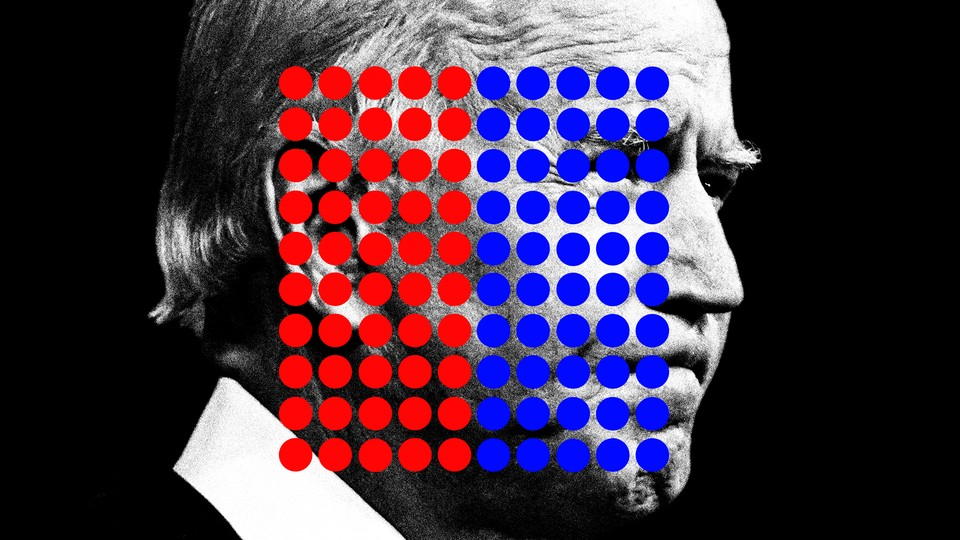 An illustration of Joe Biden with 50 red dots and 50 blue dots.