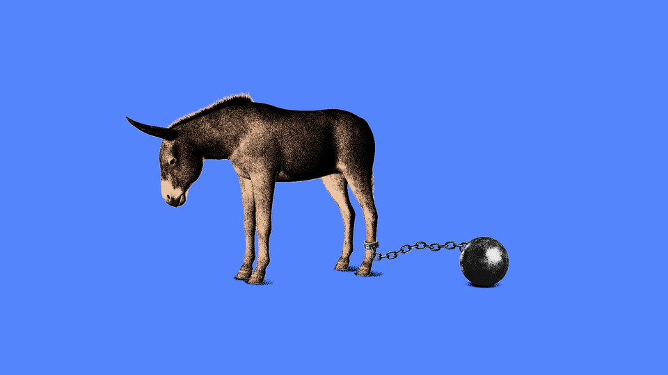 An illustration of a donkey with a ball and chain.