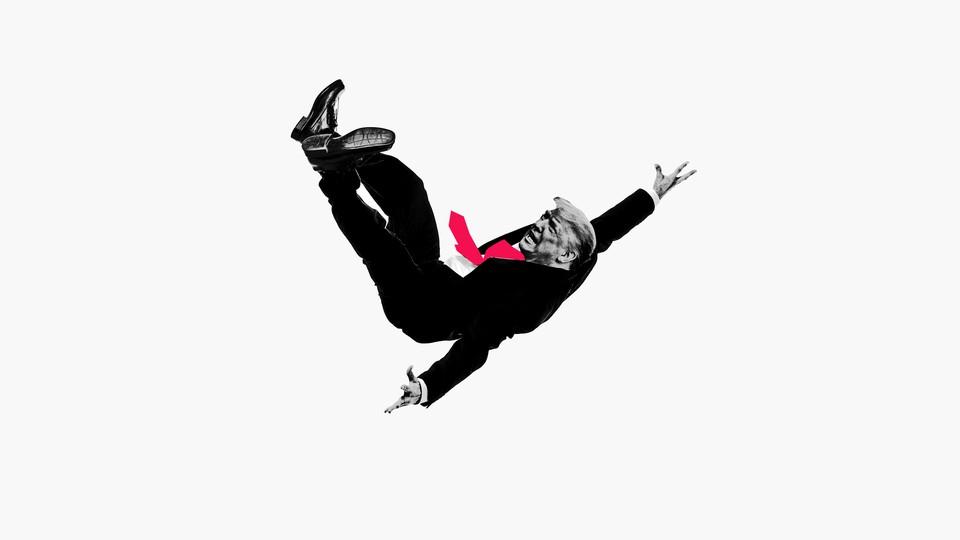 An illustration of Donald Trump falling through the air