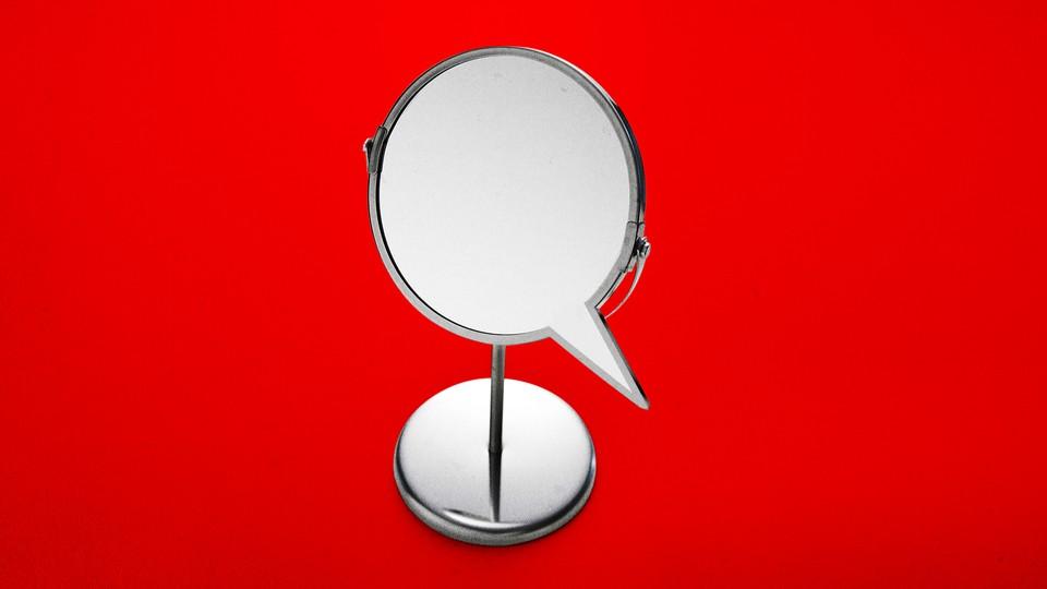 Illustration of a mirror shaped like a speech bubble