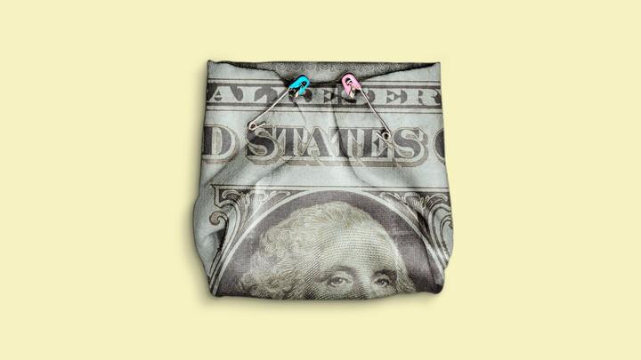a dollar bill pinned up like a diaper