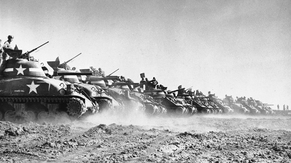 Men of a U.S. tank division trained for D-Day in England on May 9, 1944.