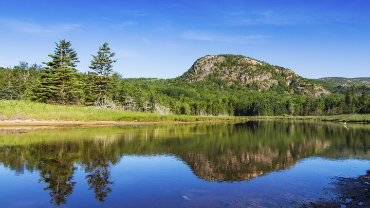 A short mountain stands beyond a lake, surrounded by trees, in Maine's Acadia National Park